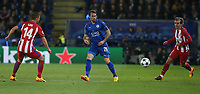 Leicester City's Christian Fuchs watched by Atletico Madrid's Gabriel Fernandez Arenas (left) and Antoine Griezmann (right)<br /> <br /> Photographer Stephen White/CameraSport<br /> <br /> UEFA Champions League Quarter Final Second Leg - Leicester City v Atletico Madrid - Tuesday 18th April 2017 - King Power Stadium - Leicester <br />  <br /> World Copyright &copy; 2017 CameraSport. All rights reserved. 43 Linden Ave. Countesthorpe. Leicester. England. LE8 5PG - Tel: +44 (0) 116 277 4147 - admin@camerasport.com - www.camerasport.com