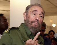 HAVANA, CUBA - APRIL 17: Cuban President Fidel Castro speaks to the media while at a press conference regarding the Cuban elcetions process on April 17, 2005. Credit: Jorge Rey/MediaPunch