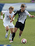 5 November 2006: Wake Forest's Ryan Solle (right) and Duke's Joe Germanese (left). Duke defeated Wake Forest 1-0 in overtime at the Maryland Soccerplex in Germantown, Maryland in the Atlantic Coast Conference college soccer tournament final.