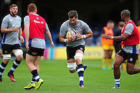 Luke Charteris of Bath Rugby in action during the pre-match warm-up. Aviva Premiership match, between Bath Rugby and Worcester Warriors on September 17, 2016 at the Recreation Ground in Bath, England. Photo by: Patrick Khachfe / Onside Images