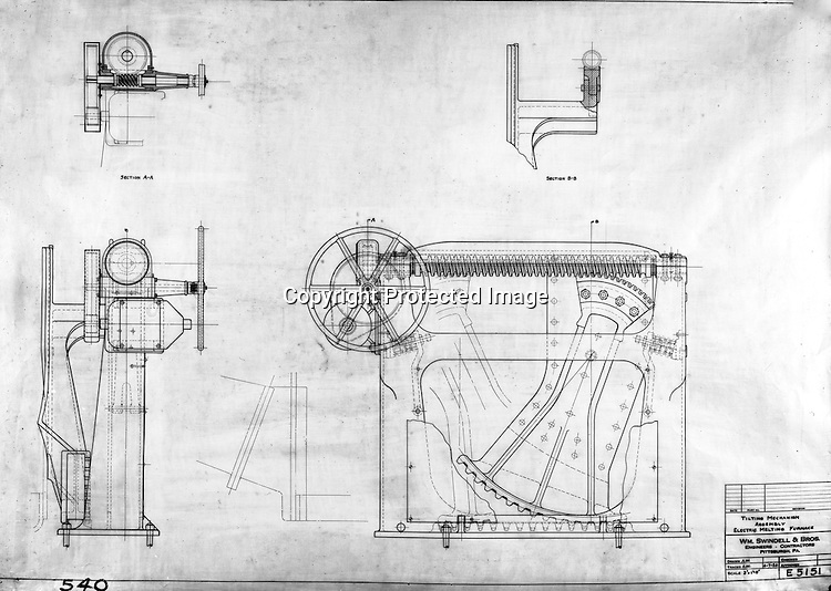 Pittsburgh PA:  View of William Swindell & Brothers engineering drawing of the Tilting Mechanism Assembly of the Electric Melting Furnace - 1924.  Swindell Dressler International Company was based in Pittsburgh, Pennsylvania. The company was founded by Phillip Dressler in 1915 as American Dressler Tunnel Kilns, Inc.  In 1930, American Dressler Tunnel Kilns, Inc. merged with William Swindell and Brothers to form Swindell-Dressler Corporation. The Swindell brothers designed, built, and repaired metallurgical furnaces for the steel and aluminum industries. The new company offered extensive heat-treating capabilities to heavy industry worldwide.