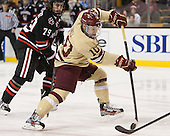 Cody Ferriero (NU - 79), Danny Linell (BC - 10) - The Boston College Eagles defeated the Northeastern University Huskies 6-3 on Monday, February 11, 2013, at TD Garden in Boston, Massachusetts.