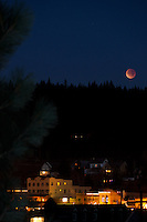 """Lunar Eclipse over Downtown Truckee, CA. 2"" - Photograph of the December 10th, 2011 lunar eclipse over Downtown Truckee, California."