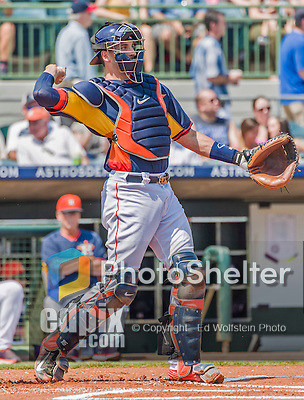 20 March 2015: Houston Astros catcher Jason Castro in Spring Training action against the Washington Nationals at Osceola County Stadium in Kissimmee, Florida. The Astros fell to the Nationals 7-5 in Grapefruit League play. Mandatory Credit: Ed Wolfstein Photo *** RAW (NEF) Image File Available ***