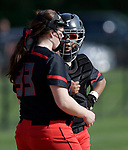 Cheshire, CT- 19 May 2017-051917CM08-  Cheshire's Abby Abramson confers with catcher, Jade Barnes during their SCC softball matchup against Mercy on Friday.  Cheshire would go onto win, 8-1.  Christopher Massa Republican-American