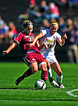 19 September 2010: University of Vermont Catamount midfielder/defender Emily Milbank, a Senior from Shelburne, VT in action against Colgate University Raider Alyssa Manoogian, a Sophomore from Peabody, MA, at Centennial Field in Burlington, Vermont. The Raiders scored a pair of second half goals two minutes apart to notch a 2-0 victory over the Lady Cats in non-conference women's soccer play. Mandatory Credit: Ed Wolfstein Photo