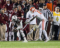 The tenth ranked South Carolina Gamecocks host the 6th ranked Clemson Tigers at Williams-Brice Stadium in Columbia, South Carolina.  USC won 31-17 for their fifth straight win over Clemson.  South Carolina Gamecocks wide receiver Shaq Roland (4), Clemson Tigers cornerback Darius Robinson (8)