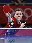 Ariel Hsing of the USA is seen here in an early round of the Women's Table Tennis at the London Olympics on Sunday, July 29, 2012, in London, England. (AP Photo/Margaret Bowles)