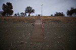 A stairway leads to nowhere at the Folsom Lake Marina as Folsom Lake recedes under drought conditions January 9, 2014 in Folsom, California.