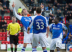 St Johnstone v St Mirren....06.10.12      SPL.Murray Davidson celebrates his goal with Nigel Hasselbaink and Tam Scobbie.Picture by Graeme Hart..Copyright Perthshire Picture Agency.Tel: 01738 623350  Mobile: 07990 594431