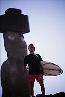 Big wave surfer Ross Clarke Jones (AUS) on a visit to Easter Island, Chile. Circa 1993. Photo: joliphotos.com