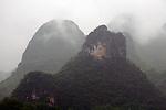 Asia, China, Guangxi, Guilin, Li River. Misty scenery of the Li JIang river cruise.