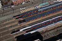 aerial photograph CalTrain trains at the San Francisco CalTrain station during Superbowl 50, San Francisco, California.  CalTrain trains will be transporting many Superbowl visitors to the Levi's stadium