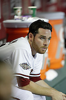 27 June 2011:  Starting pitcher #31 Ian Kennedy in the dugout during the second inning during a Major League Baseball game MLB Cleveland Indians defeated the Arizona Diamondbacks 5-4 inside Chase Field in Phoenix, AZ.  **Editorial Use Only**