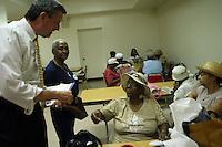 Public Advocate Candidate Bill De Blasio campaigns w/Una Clarke at St. Gabriels Senior Center in BK