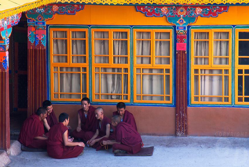 Debating Monks at the Drepung Monastery - Lhasa, Tibet China<br />