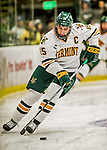 24 October 2015: University of Vermont Catamount Defenseman Yvan Pattyn, a Senior from St. Anne, Manitoba, in first period action against the University of North Dakota at Gutterson Fieldhouse in Burlington, Vermont. North Dakota defeated the Catamounts 5-2 in the second game of their weekend series. Mandatory Credit: Ed Wolfstein Photo *** RAW (NEF) Image File Available ***