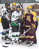 Chris Porter, Justin Bostrom, Drew Stafford, Evan Kaufmann, PJ Atherton - The University of Minnesota Golden Gophers defeated the University of North Dakota Fighting Sioux 4-3 on Saturday, December 10, 2005 completing a weekend sweep of the Fighting Sioux at the Ralph Engelstad Arena in Grand Forks, North Dakota.