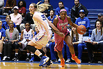04 February 2016: Virginia's Aliyah Huland El (23) spins past Duke's Erin Mathias (35). The Duke University Blue Devils hosted the University of Virginia Cavaliers at Cameron Indoor Stadium in Durham, North Carolina in a 2015-16 NCAA Division I Women's Basketball game. Both teams wore pink as part of the annual Play4Kay game in support of the Kay Yow Cancer Fund. Duke won the game 67-52.