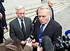 Jean-Marc Ayrault<br /> Minister of Foreign Affairs and International Development<br /> French Government leaving the County Hall Hotel, Southbank, London, Great Britain <br /> 23rd March 2017 <br /> Alan Duncan MP and <br /> Jean-Marc Ayrault<br /> <br /> <br /> Photograph by Elliott Franks <br /> Image licensed to Elliott Franks Photography Services