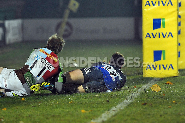 Ollie Devoto scores a try. Aviva A-League match, between Bath United and Harlequins A on November 5, 2012 at the Recreation Ground in Bath, England. Photo by: Patrick Khachfe / Onside Images