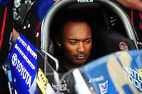 May 5, 2012; Commerce, GA, USA: NHRA top fuel dragster driver Antron Brown during qualifying for the Southern Nationals at Atlanta Dragway. Mandatory Credit: Mark J. Rebilas-