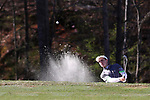 KANNAPOLIS, NC - APRIL 09: Charlotte's Conor Purcell (IRL) chips out of a bunker on the 10th hole. The third round of the Irish Creek Intercollegiate Men's Golf Tournament was held on April 9, 2017, at the The Club at Irish Creek in Kannapolis, NC.