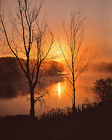 Sunrise over the Kennebec River near Solon Maine