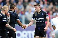 Taulupe Faletau of Bath Rugby celebrates his second half try with team-mate Rhys Priestland. European Rugby Challenge Cup Quarter Final, between Bath Rugby and CA Brive on April 1, 2017 at the Recreation Ground in Bath, England. Photo by: Patrick Khachfe / Onside Images