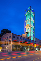 Aarhus City Hall, Clock tower at night, Denmark. Built 1941. Architect: Arne Jacobsen and Erik Møller.