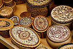 Stock photo of Wooden souvenir jewelry boxes with decorative patterns Ukraine Horizontal