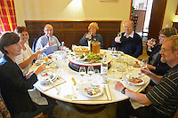 restaurant table group of people enjoying a meal domaine comte senard aloxe-corton cote de beaune burgundy france