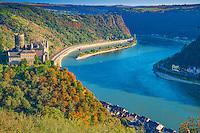 Katz Castle,  Rhine River, Germany , Rhineland Region. 13th Century Castle Upper Middle Rhine Valley UNESCO World Heritage Site
