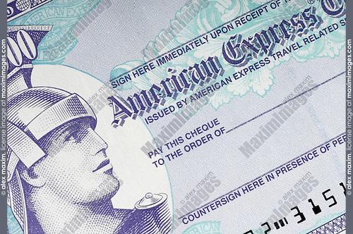 American Express 1000 dollar traveller's cheque closeup