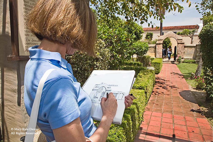 Female Adult Student Sketches Gate At San Gabriel Mission For Class Mary Kate Denny