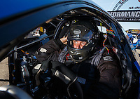 Sep 4, 2016; Clermont, IN, USA; NHRA pro stock driver Alan Prusiensky during qualifying for the US Nationals at Lucas Oil Raceway. Mandatory Credit: Mark J. Rebilas-USA TODAY Sports