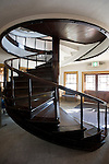 Photo shows the spiral staircase inside former office building of the Kosaka silver mine in Kosaka, Akita Prefecture Japan on 19 Dec. 2012. Photographer: Robert Gilhooly