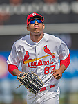 2 March 2013: St. Louis Cardinals outfielder Oscar Taveras trots back to the dugout during a Spring Training game against the Washington Nationals at Roger Dean Stadium in Jupiter, Florida. The Nationals defeated the Cardinals 6-2 in their first meeting since the NLDS series in October of 2012. Mandatory Credit: Ed Wolfstein Photo *** RAW (NEF) Image File Available ***