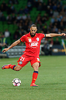 Melbourne, 28 October 2016 - TAREK ELRICH (21) of Adelaide kicks the ball in the round 4 match of the A-League between Melbourne City and Adelaide United at AAMI Park, Melbourne, Australia. Melbourne won 2-1 (Photo Sydney Low / sydlow.com)