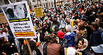 People attend a OWS protest with posters demanding justice for the death of Florida teen Trayvon Martin in New York, United States. 24/03/2012.  Photo by Eduardo Munoz Alvarez / VIEWpress.