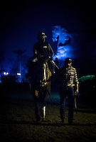 HALLANDALE BEACH, FL - JAN 27: California Chrome, with exercise rider Dihigi Gladney walks off the the track  after finishing his final preparations for the Pegasus World Cup at Gulfstream Park Race Course on January 27, 2017 in Hallandale Beach, Florida. (Photo by Alex Evers/Eclipse Sportswire/Getty Images)