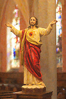 The Sacred Heart of Jesus in St. Bridget's Church, one of the churches in the Parish of the Resurrection, in Jersey City, New Jersey.   The image was creatively modified to resemble a painting.