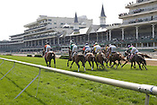 A grass track race at Churchill Downs race track in Louisville, Kentucky.
