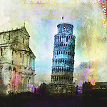 The leaning tower of Pisa. Photo based illustration.<br />
