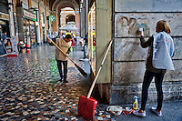 The candidate for mayor, Stefano Fassina  cleans Piazza Vittorio together with volunteers.<br /> &quot;Wake up Roma ', the great collective mobilization promoted by Retake and Luiss EnLabs for the decorum of the city against the deterioration and abandonment. About three thousand volunteers with scrapers and brushes in hand they removed posters and stickers, clean walls and poles, they cleaned up gardens and flower beds, driveways and sidewalks. Interventions to Piazza Vittorio, Porta Maggiore, Villa Paganini and place Anco Marzio in Ostia. Rome, Italy 12th March 2016