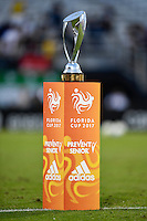 Orlando, FL - Saturday Jan. 21, 2017: The Florida Cup trophy is displayed prior to the start of the first half of the Florida Cup Championship match between São Paulo and Corinthians at Bright House Networks Stadium.