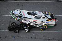 Jan. 20, 2012; Jupiter, FL, USA: Aerial view of NHRA funny car driver Mike Neff during testing at the PRO Winter Warmup at Palm Beach International Raceway. Mandatory Credit: Mark J. Rebilas-