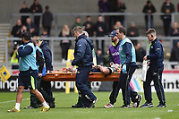 Josh Beaumont of Sale Sharks is stretchered off the field. Aviva Premiership match, between Sale Sharks and Bath Rugby on May 6, 2017 at the AJ Bell Stadium in Manchester, England. Photo by: Patrick Khachfe / Onside Images