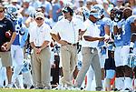 01 September 2012: UNC head coach Larry Fedora. The University of North Carolina Tar Heels played the Elon University Phoenix at Kenan Memorial Stadium in Chapel Hill, North Carolina in a 2012 NCAA Division I Football game. UNC won the game 62-0.