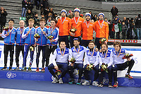 SHORT TRACK: TORINO: 15-01-2017, Palavela, ISU European Short Track Speed Skating Championships, Podium Relay Men, Team Russia, Team Netherlands, Team Italy, ©photo Martin de Jong